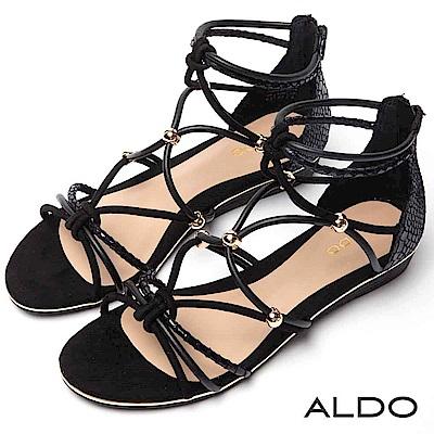 ALDO 原色蛇紋交叉繫帶後拉鍊式木紋小坡跟涼鞋~經典黑色