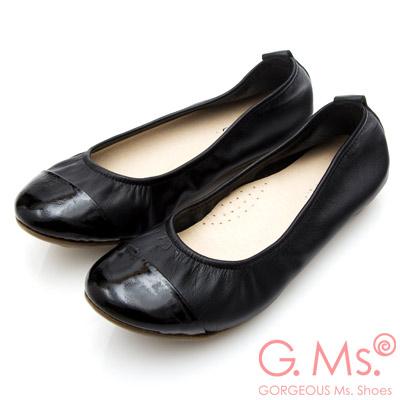 G.Ms. MIT系列-素面漆皮拼接牛皮娃娃鞋-黑色