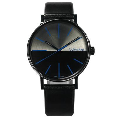 CK Boost 撞色拼接瑞士機芯防水皮革手錶-灰黑色/41mm