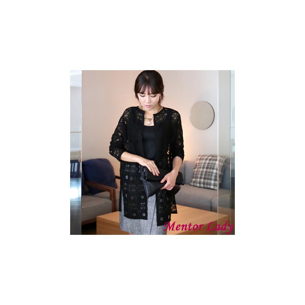 【Mentor Lady】巴黎優雅蕾絲緹花長版罩衫 (黑色)