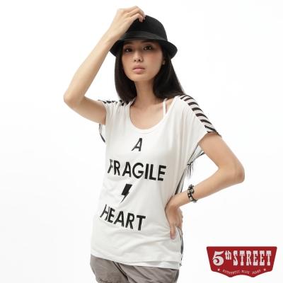 5th STREET T恤 印字雪紡條紋拼接T恤-女-黑色