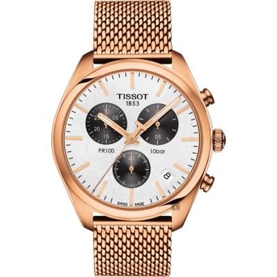 TISSOT天梭 PR100 經典米蘭帶計時手錶-銀x玫塊金/41mm