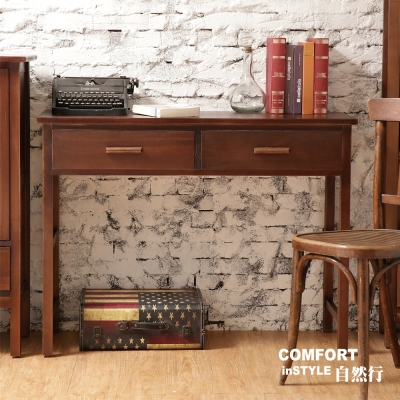 CiS自然行實木家具 書桌-電腦桌-化妝桌-邊桌W110cm(咖啡胡桃色)