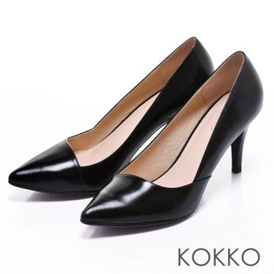 KOKKO經典再現時髦尖頭斜切高跟鞋