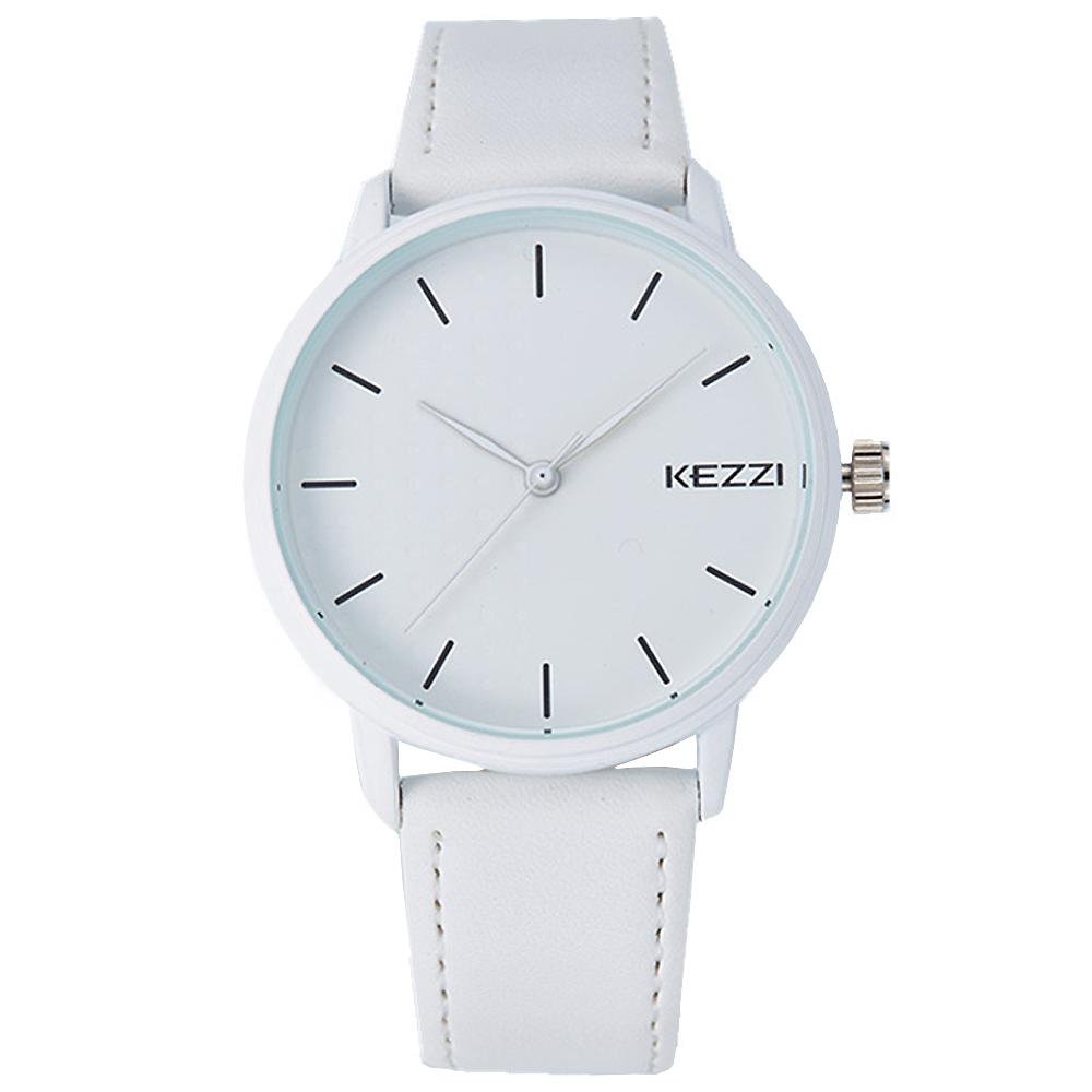 Kezzi-1391簡約學院風黑白色情侶手錶-白色x男42mm