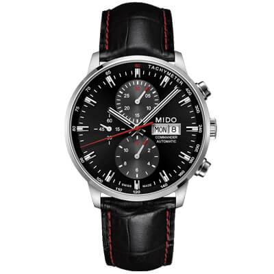 MIDO 美度 Commander 香榭系列60小時計時機械腕錶 黑紅-43mm