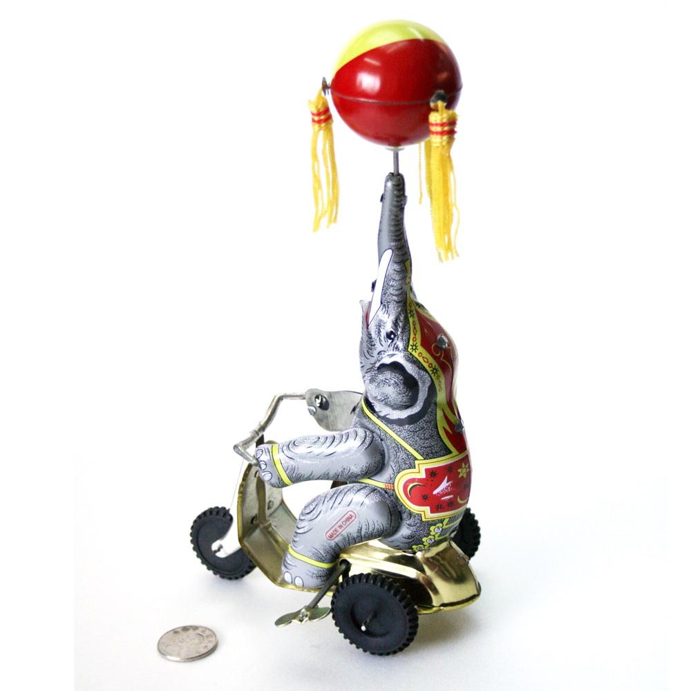 鐵皮發條玩具-大象三輪車