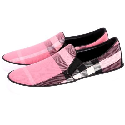 BURBERRY HOUSE 拼接格紋棉質休閒鞋(女鞋/玫瑰粉)