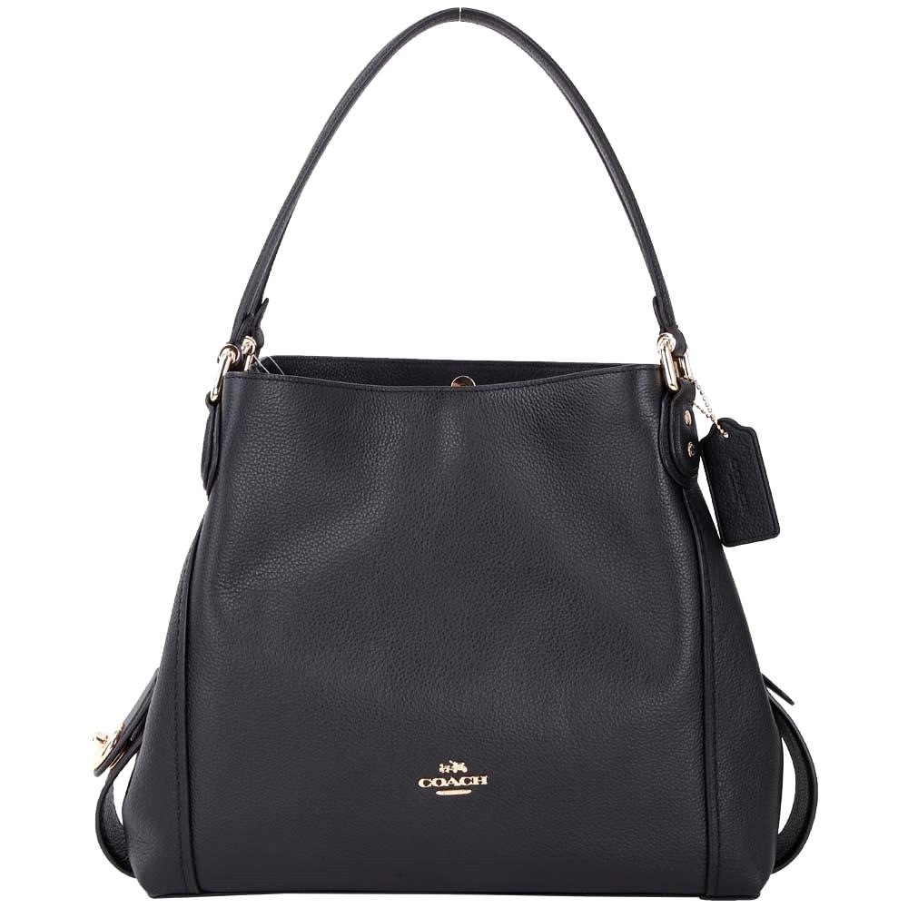 COACH Edie Bag 31 荔紋牛皮三夾層梯型肩背包(黑色)COACH