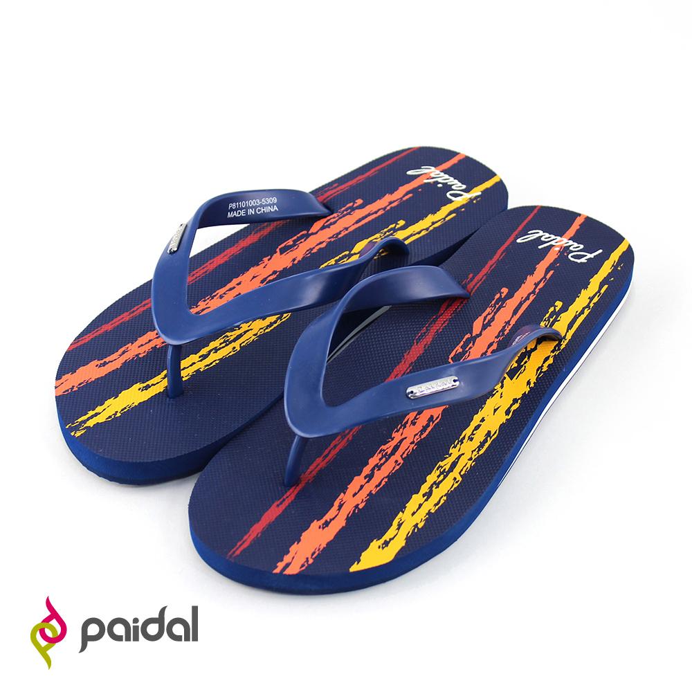 Paidal蠟筆塗鴉人字拖海灘拖夾腳拖鞋-深藍