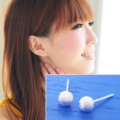 維克維娜 極巧微甜。簡單百搭小圓球細鑽925純銀耳環
