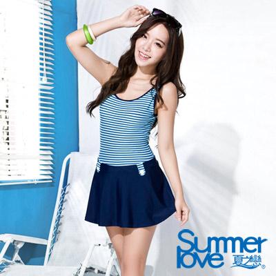 夏之戀SUMMERLOVE 藍色條紋連身帶裙泳衣