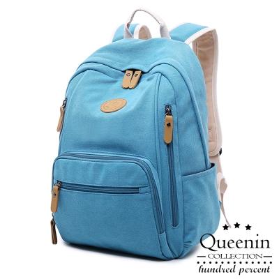 DF Queenin日韓 - 韓版潮流系帆布款後背包-共2色