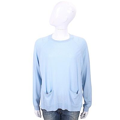 ALLUDE 100%羊毛水藍色雙口袋針織衫