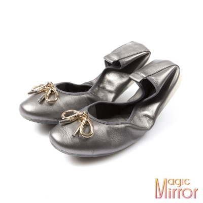 Magic-mirror-金屬扣飾蝴蝶結超軟羊皮摺