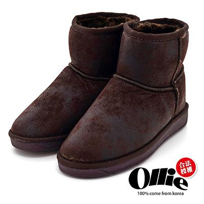 Aviator*韓國空運-Ollie正韓製時尚刷色爆裂皮革鋪毛增高短靴-可可