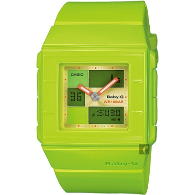 CASIO卡西歐 卡西歐 Baby-G 行李箱時尚雙顯錶-綠/43.2mm