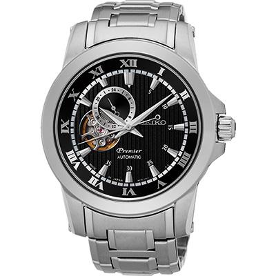 SEIKO Premier 24小時顯示開芯機械錶(SSA277J1)-黑/41mm