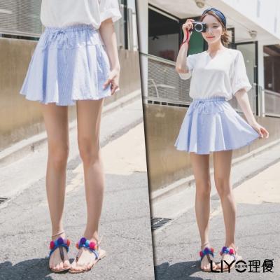 LIYO理優鬆緊腰頭百褶短裙(藍)