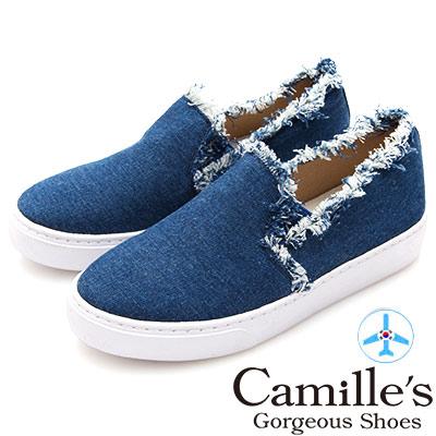 Camille's 韓國空運-抽鬚毛邊丹寧厚底懶人鞋-深藍
