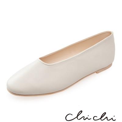 Chichi 韓國直送-繽紛春日 素面造型平底鞋*米白色