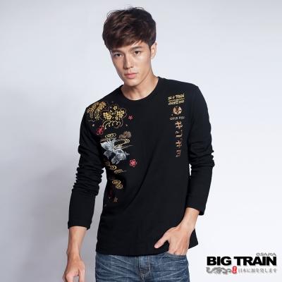 BIG TRAIN 日式金魚長袖T-男-黑色