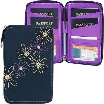 TRAVELON RFID七瓣花拉鍊防護證件護照夾(藍)
