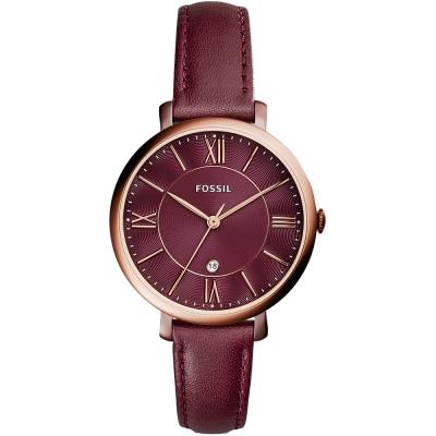 FOSSIL Jacqueline羅馬時標優雅真皮手錶-紅/36mm