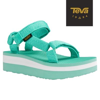 TEVA 美國-女 Flatform Universal 織帶厚底涼鞋 (花紗綠)