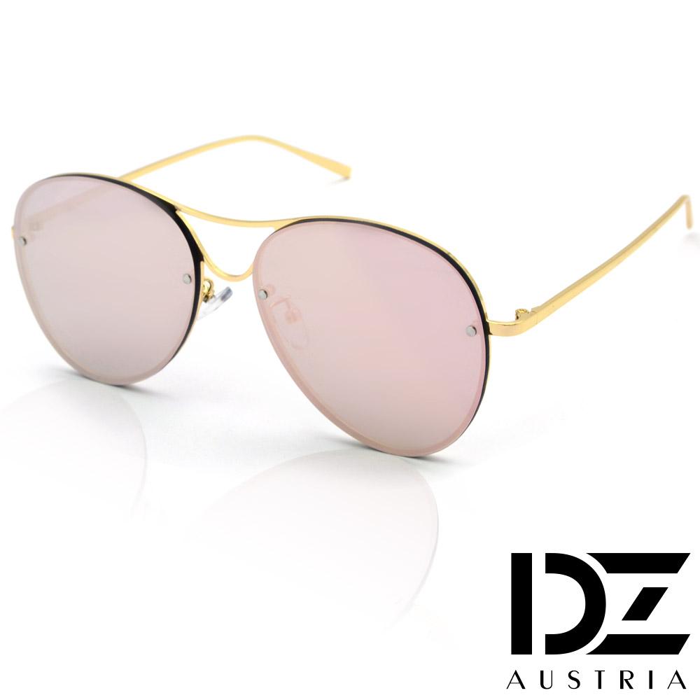【2件59折】DZ 美型平版框 抗UV太陽眼鏡 墨鏡(金框金粉膜)