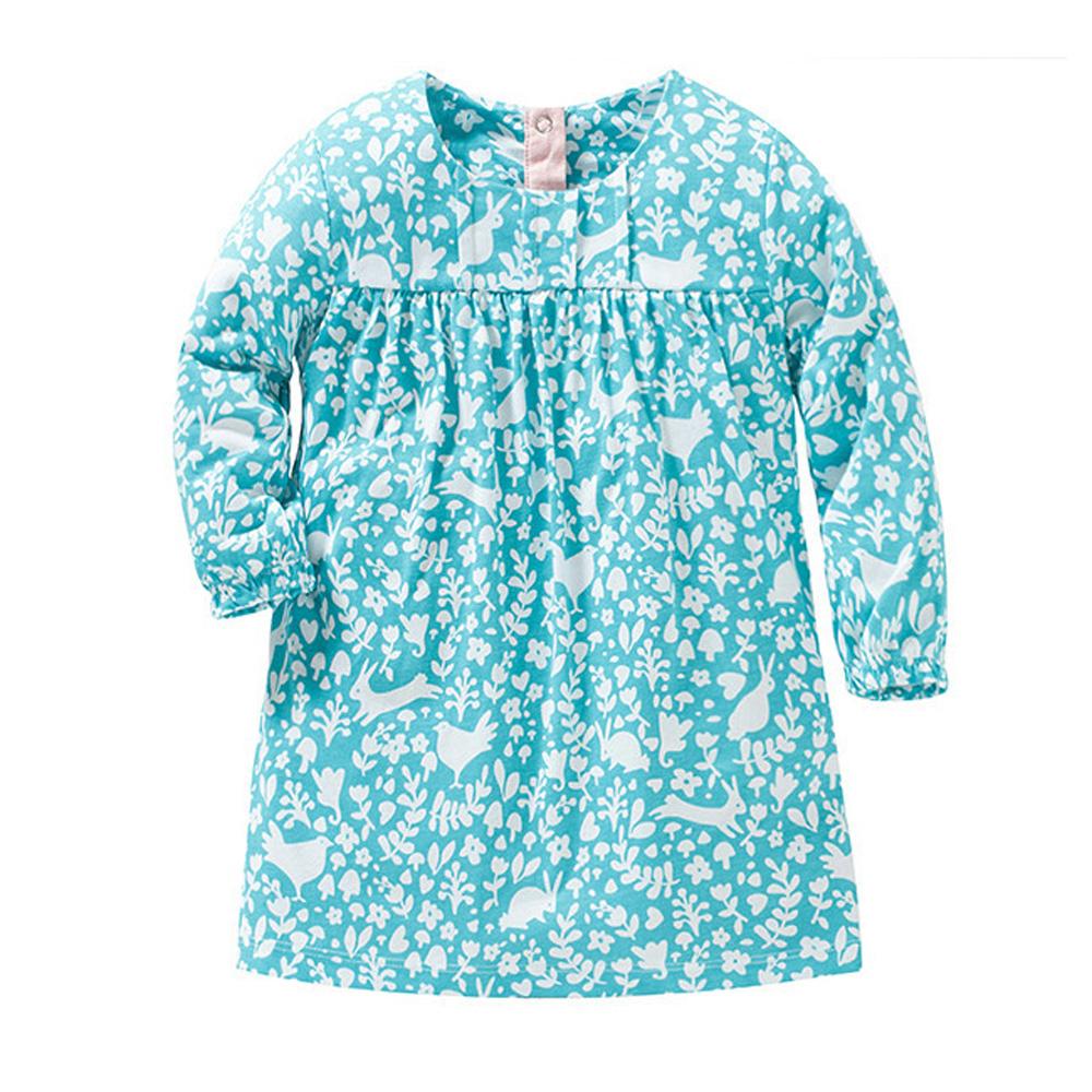 歐美風 女童 純棉長版 長袖T恤-森林風