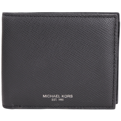 Michael Kors HARRISON 防刮皮革4卡對折短夾(黑色/展示品)