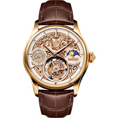 MEMORIGIN 萬希泉 如意系列陀飛輪腕錶-玫瑰金x咖啡/43mm
