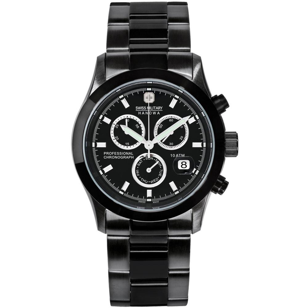 SWISS MILITARY HANOWA 自由者計時三環日曆腕錶-黑/40mm