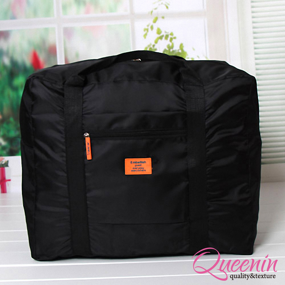 DF Queenin - 韓版折疊式大容量手提肩背旅行袋-黑色