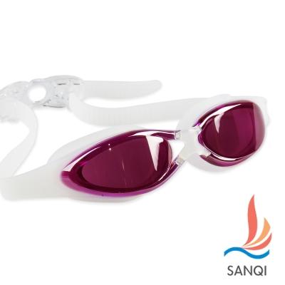 SANQI三奇 夏日必備抗UV防霧休閒泳鏡(380-玫紅F)