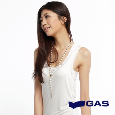 GAS-氣質典雅-長版素面背心-石灰白-女款