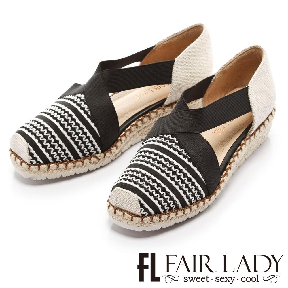 Fair Lady 優雅詮釋交叉帶草編楔型涼鞋 黑