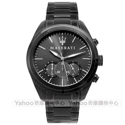 MASERATI 瑪莎拉蒂TRAGUARDO經典時尚計時手錶-鍍黑/45mm