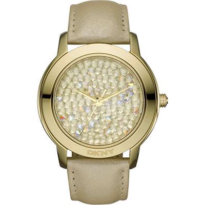 DKNY 閃亮泡泡晶鑽腕錶-金/43mm