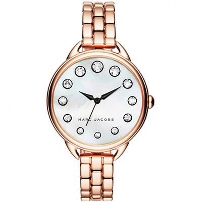 Marc Jacobs Betty 摩登晶鑽女錶-珍珠貝x玫塊金/35mm