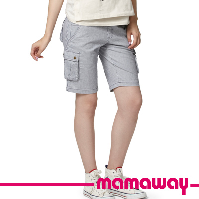 Mamaway-孕婦條紋貼袋四分褲-藍白條