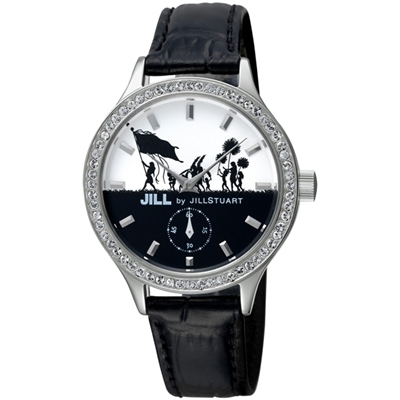 JILL STUART Big Leather系列晶鑽簡約時尚腕錶-銀x黑/34mm