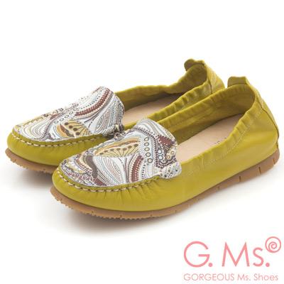 G.Ms.MIT系列-變形蟲印花牛皮莫卡辛鞋-芥末綠