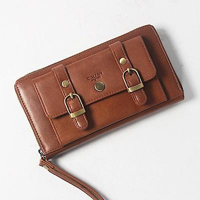 CALTAN-拉鍊長夾 女用皮夾 手提女夾 可放置零錢信用卡手機-2080cd-淺咖