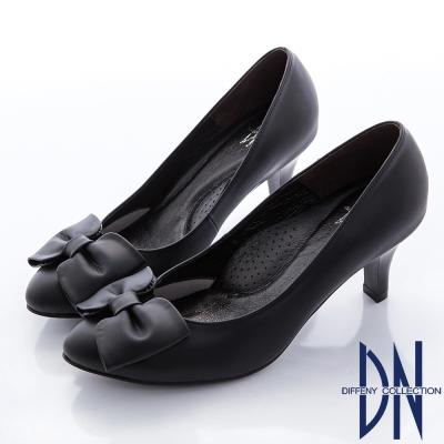 DN-典雅OL-簡約蝴蝶結霧面真皮跟鞋-黑