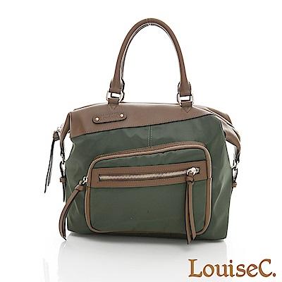LouiseC. 個性多功能後背包-尼龍+牛皮-綠色-04Z36-0059A08