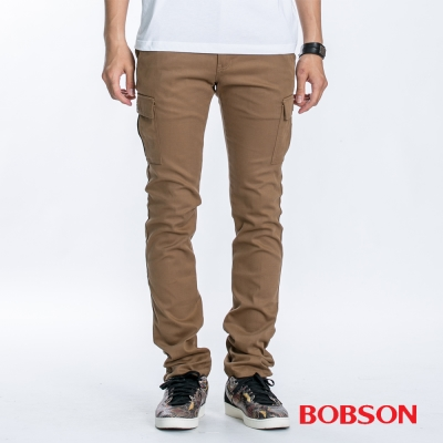 BOBSON 男款貼袋伸縮卡其直筒褲