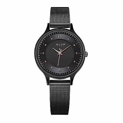 JULIUS聚利時 星夜之謎雙錶盤米蘭錶帶腕錶-質感黑/30mm