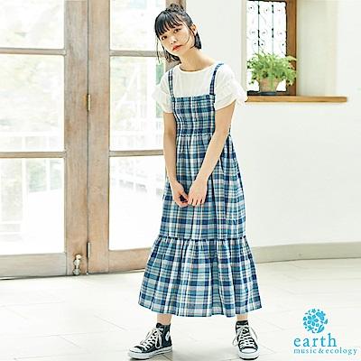 earth music 配色格紋平口分層式背心洋裝